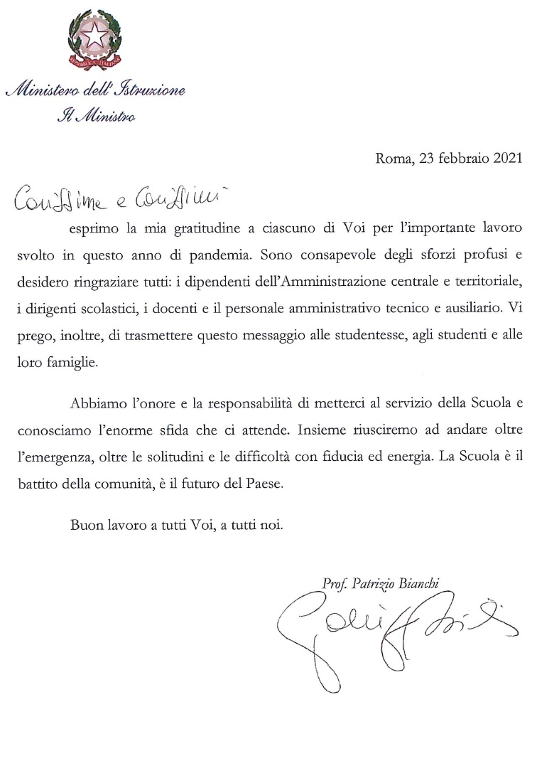 lettera aperta del Ministro