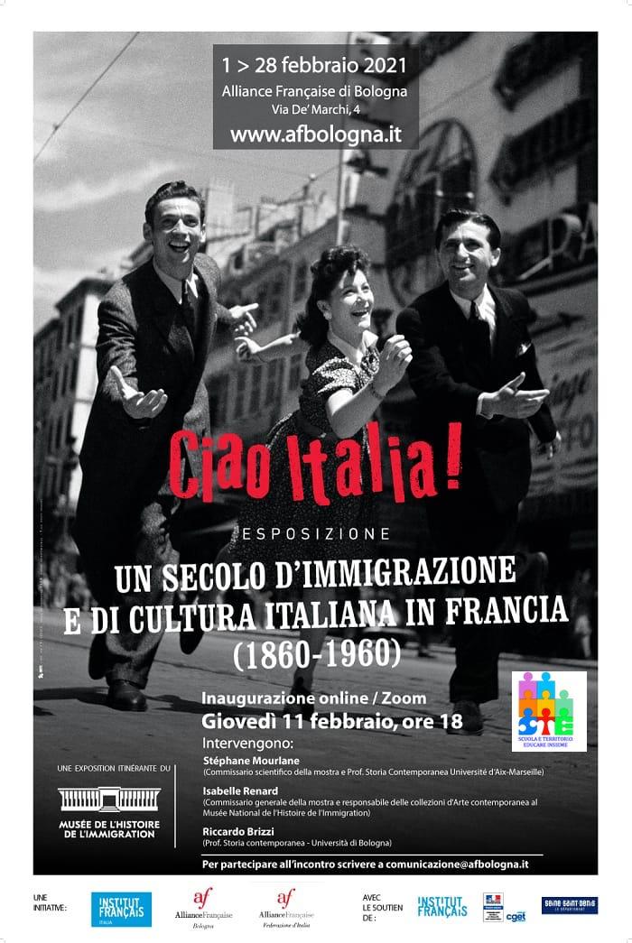 """Giovedì 11 febbraio 2021, ore 18.00 """"Ciao Italia. Un secolo d'immigrazione e cultura italiana in Francia"""